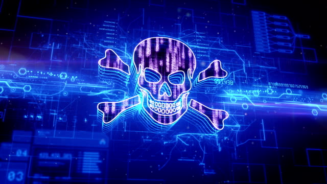 jolly roger icon on abstract blue background - antivirus video stock e b–roll