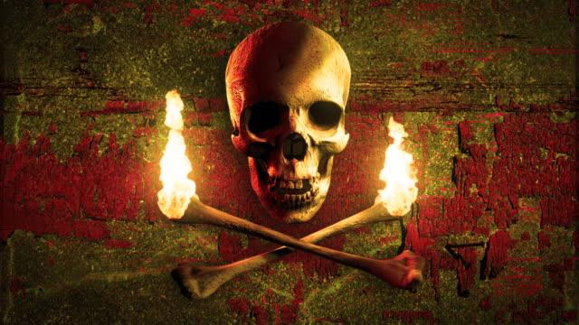 Jolly Roger. Piraten Schädel und Knochen wie Fackel. LOOP – Video
