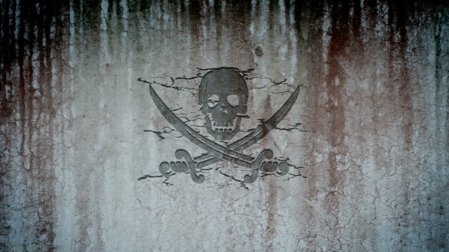 Jolly Roger, pirate symbol, appearing on a wall video