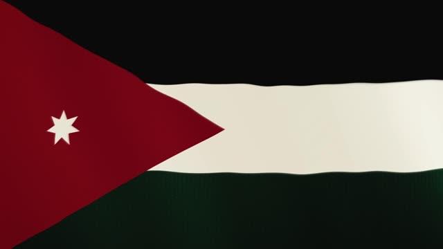 Jordan flag waving animation. Full Screen. Symbol of the country video