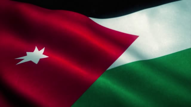 Jordan flag waving in the wind. National flag of Jordan. Sign of Jordan seamless loop animation. 4K