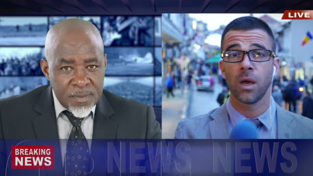 vídeos de stock e filmes b-roll de journalist reporting live in tv news  newscaster - afro americano