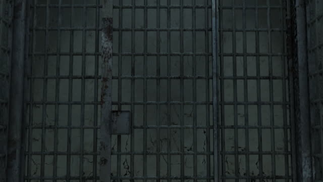 Journey down the corridor of a prison, cold and dark. Traveling out. Image generated in 3D video