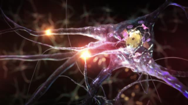 Journey inside a neuron cell network. Blue. video