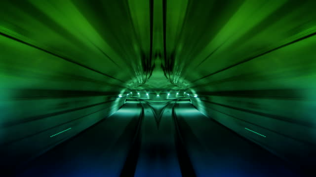 Journey through a tunnel. Loopable. Flipped Green. video