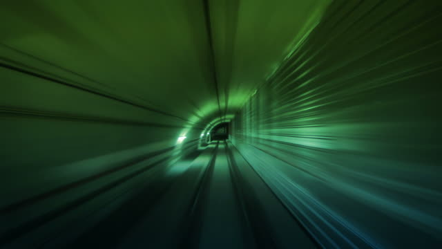 Journey through a tunnel. Loopable. Green. video