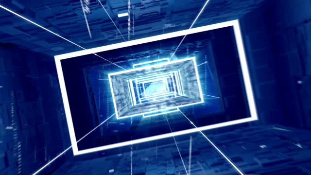 reise durch die blauen digitalen tunnel. endlos wiederholbar - rechteck stock-videos und b-roll-filmmaterial