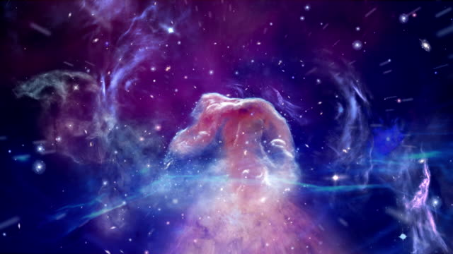 Journey through Horsehead Nebula Camera moving into Nebula. Digitally generated image brightly lit stock videos & royalty-free footage
