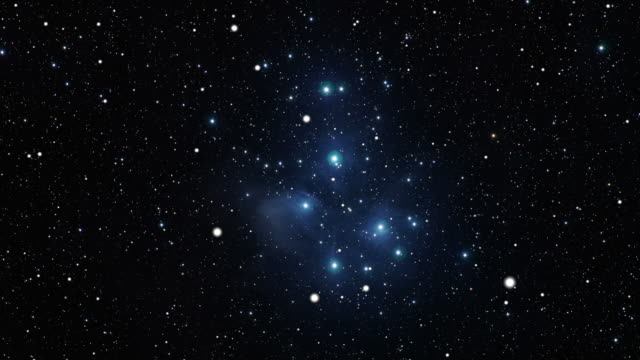 Journey to the Pleiades open star cluster (m45) Journey to the Pleiades open star cluster (m45) bunch stock videos & royalty-free footage