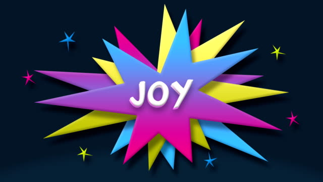 Joy text in speech balloon with colorful stars