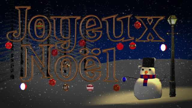 Joyeux Noel greeting with snowman and old gas lamp video