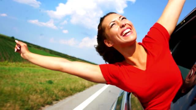 joyful car ride. - spettinato video stock e b–roll