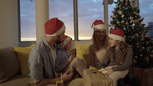 Joyful family having fun while spending Christmas together at home. video