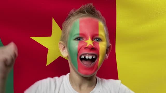 カメルーンの旗の背景に喜びのファン。国の色で顔を塗った幸せな少年。 - サッカークラブ点の映像素材/bロール