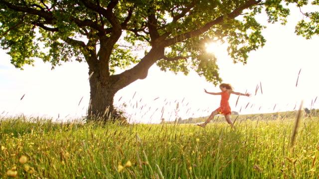 SLO MO Joyful girl in the meadow video