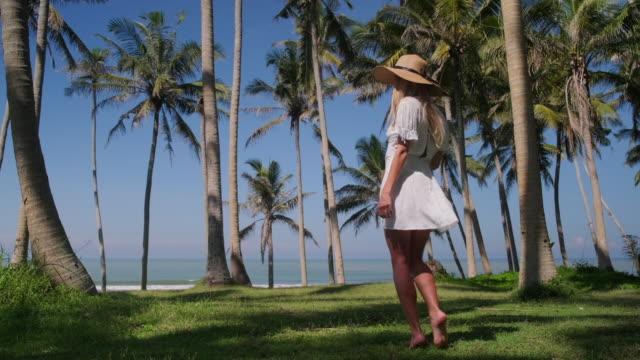 vídeos y material grabado en eventos de stock de alegre chica de vacaciones en trópicos - disquete
