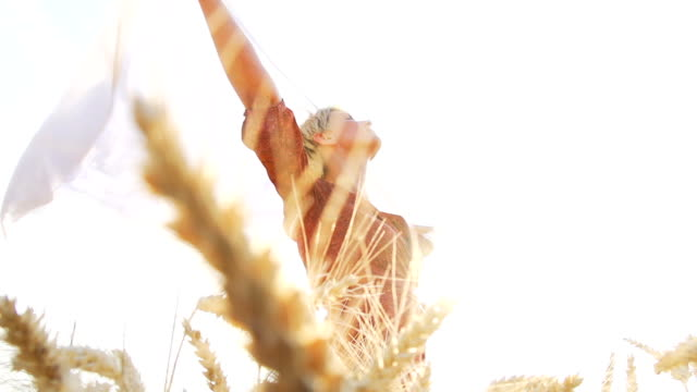 HD SUPER SLOW-MOTION: Joyful Woman In Wheat Field video