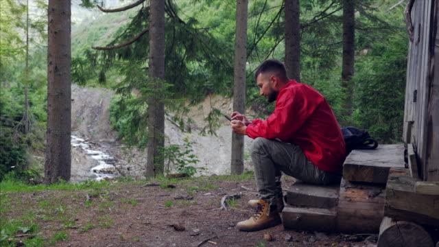 vídeos de stock e filmes b-roll de joyful young man using mobile phone in woodland - man admires forest