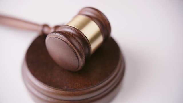 Judge's Wooden Gavel On Sound Block 4K video