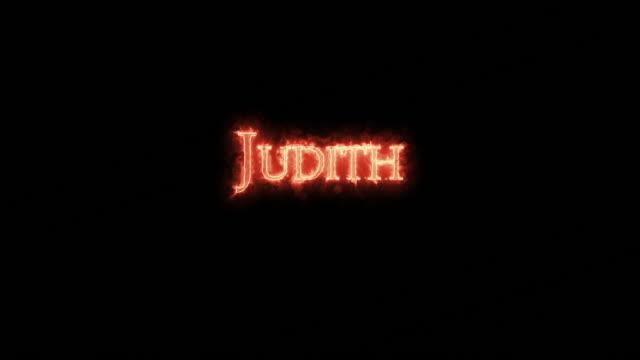 judith written with fire. loop - ветхий завет стоковые видео и кадры b-roll