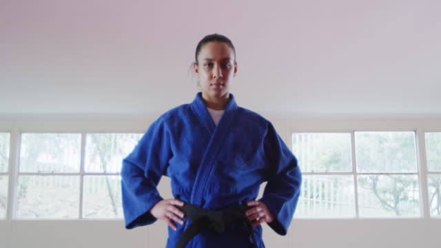 Judoka looking at the camera