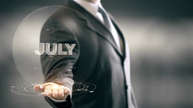 July Businessman Holding in Hand New technologies