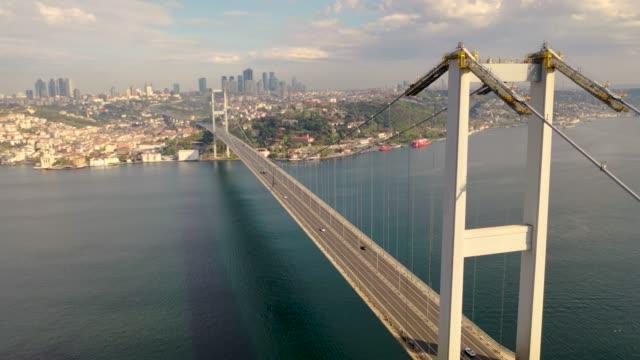 15 july martyrs bridge also known as bogazici bridge from istanbul turkiye aerial view with drone. - męczennik filmów i materiałów b-roll