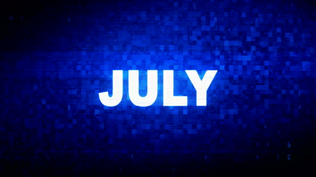 july text digital noise twitch glitch distortion effect error animation. - happy 4th of july filmów i materiałów b-roll