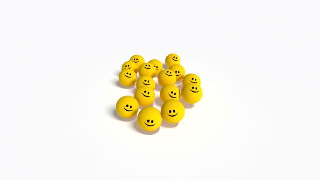 springen und hüpfen lächeln-bälle - smiley stock-videos und b-roll-filmmaterial