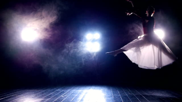 Jumping ballerina. Slow motion. Silhouette. HD. video