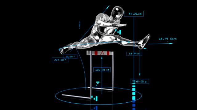 3 d saltare atleta - balance graphics video stock e b–roll