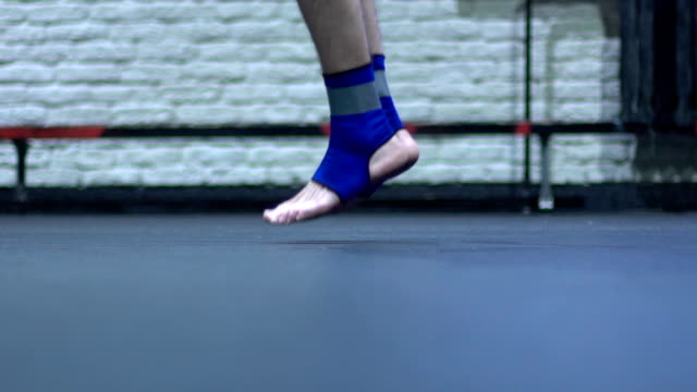 Jumping rope. Slow motion video