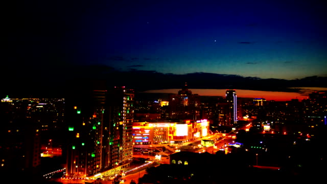 9 june 2015 Russia, Novosibirsk.  Timelapse of night city on architecture background video