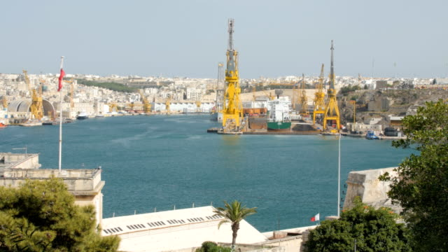 June 2016. Valletta, Malta. Harbor cranes video