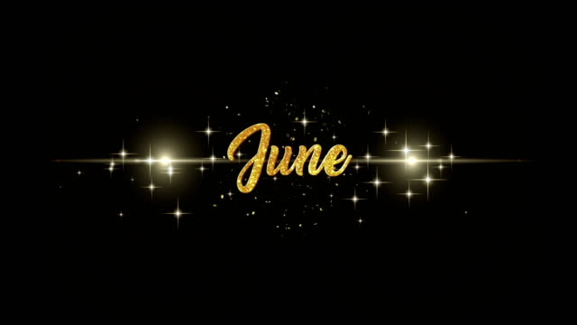 June Beautiful golden greeting Text Appearance from blinking particles with golden fireworks background. video