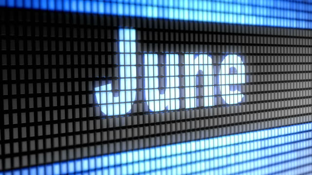 'June' on the Screen. 4K Resolution. Looping. video