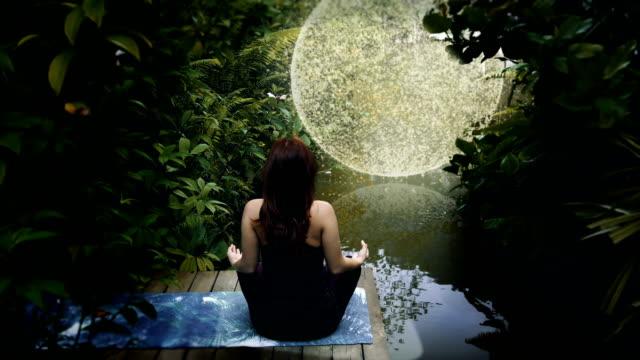 Jungle meditation. Transcendence metaphor. Escape into space
