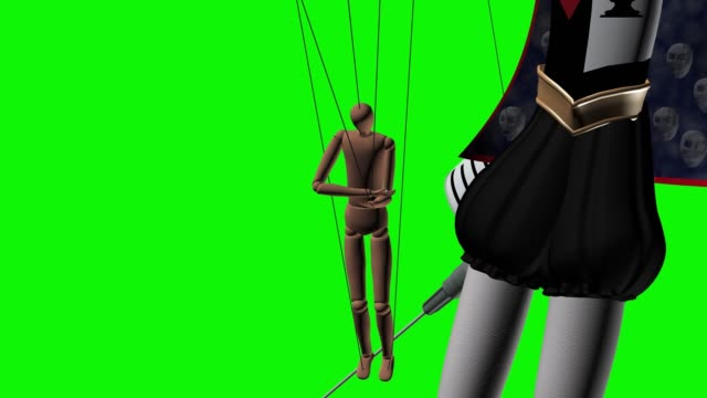 Junkie in the hands of the demon 3d illustration render Human on drugs is a puppet in the hands of the demon puppeteer 3d illustration render animation green screen chromakey marionette stock videos & royalty-free footage
