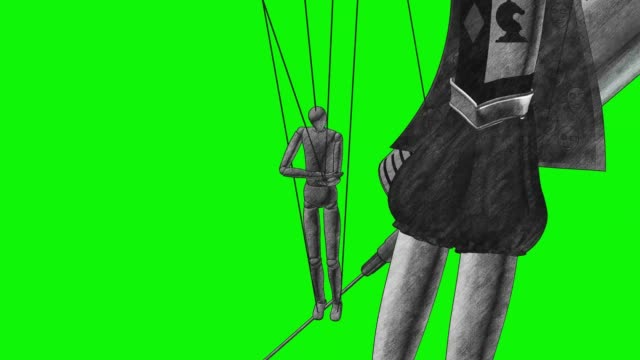 Junkie in the hands of the demon sketch 3d render Human on drugs is a puppet in the hands of the demon puppeteer 3d illustration render animation graphite pencil sketch drawing style green screen chromakey marionette stock videos & royalty-free footage