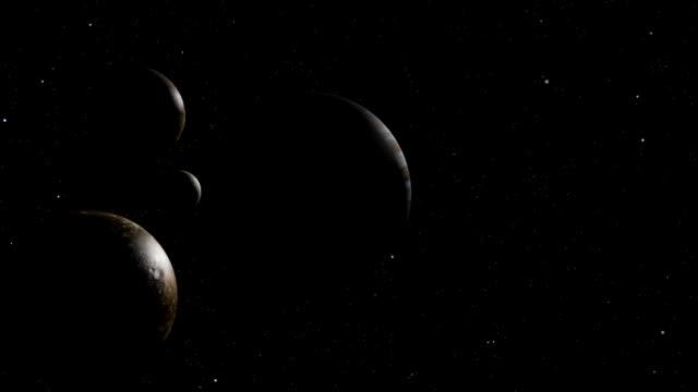 jupiter i moons w galaxy - io księżyc filmów i materiałów b-roll