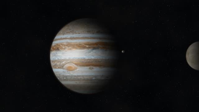 jupiter and moons revolving around it in space - jowisz filmów i materiałów b-roll