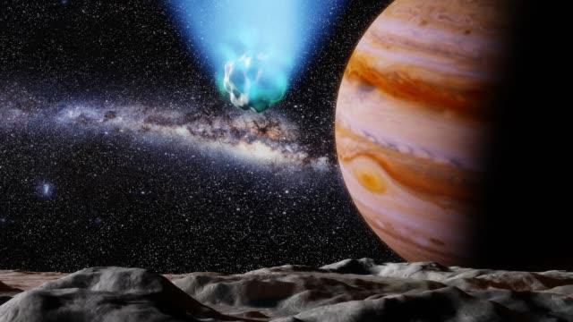 kometa jowisza i księżyc - jowisz filmów i materiałów b-roll