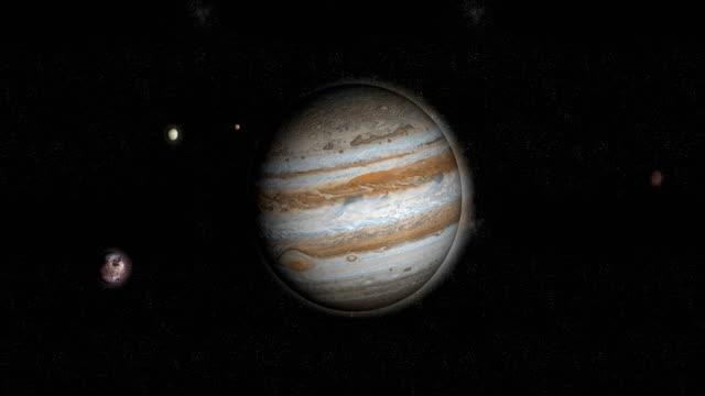 jupiter planet and galilean satellites orbiting around - jowisz filmów i materiałów b-roll