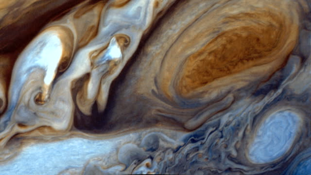 Jupiter's surface and the Great Red Spot. Jupiter's surface with a clear view of the Great Red Spot. surface level stock videos & royalty-free footage