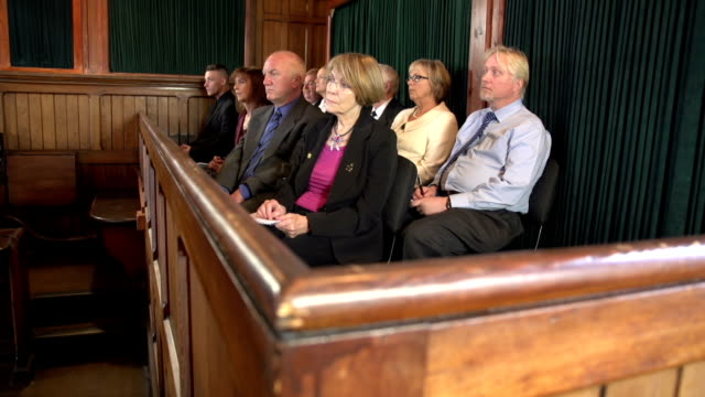 Jury listening to a Legal case in court, Courtroom video