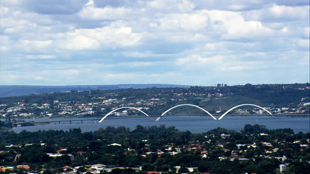 Juscelino Kubitschek Bridge-Vista aérea-Distrito Federal, Brasília, Brasil - vídeo