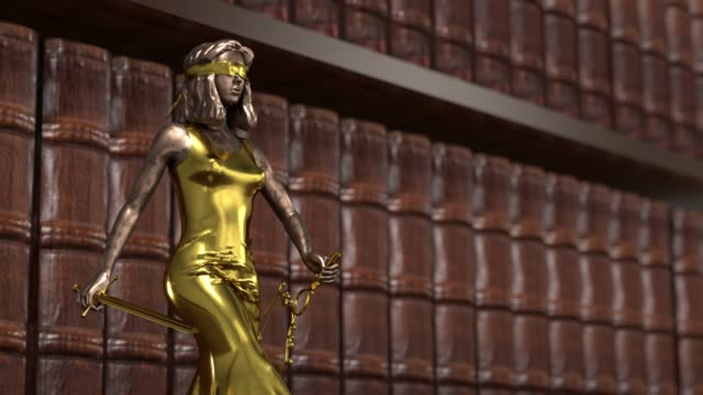 Justice goddess rises on pedestal, Themis, Femida with scales and a sword in his hands. 3d render.