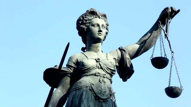 Justice statue in Frankfurt video
