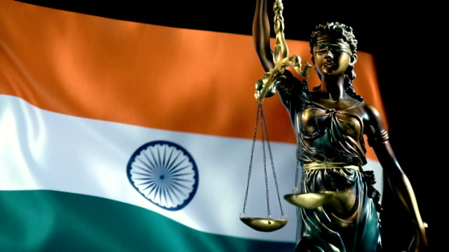 Justice Statue with Indian Flag Full HD, 29.97P, Slow Motion law stock videos & royalty-free footage