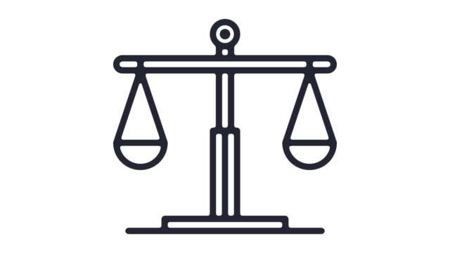 Justice System Line Icon Animation with Alpha Justice system motion graphic line icon animation. Alpha channel will be included when downloading the 4K Apple ProRes 4444 file only. law stock videos & royalty-free footage